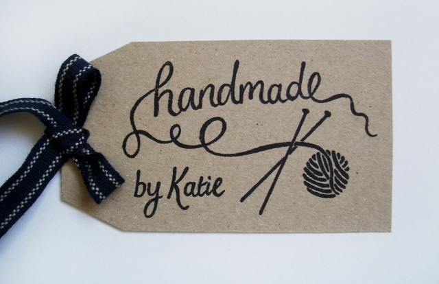 Handmade by Knitters' stamp tag